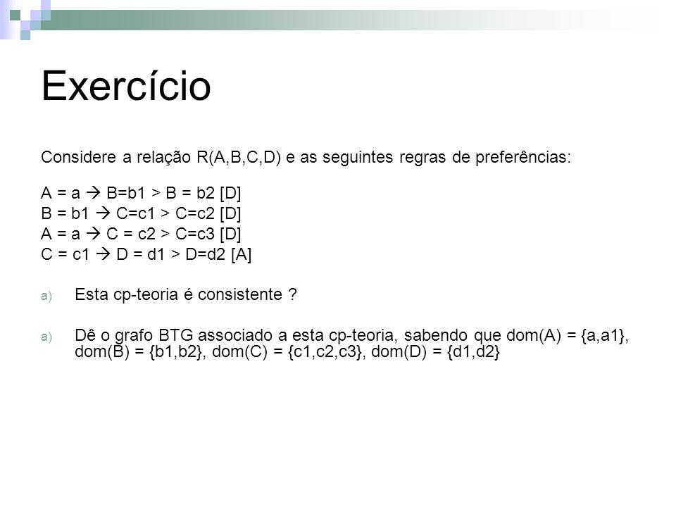 Exercício Considere a relação R(A,B,C,D) e as seguintes regras de preferências: A = a  B=b1 > B = b2 [D]